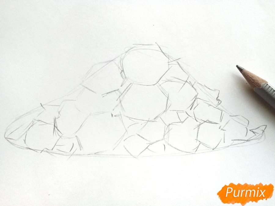 Рисуем опавшие осенние листья цветными карандашами - шаг 2