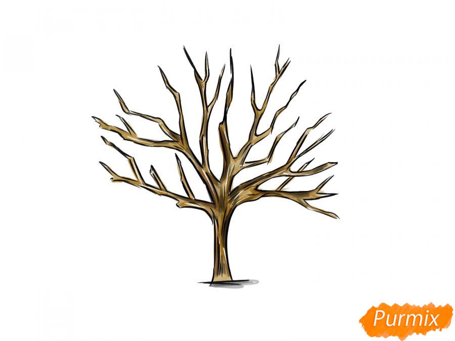 Рисуем ореховое дерево без листьев - шаг 8