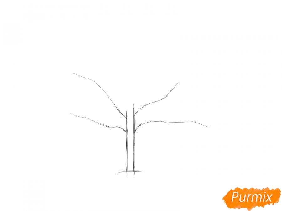 Рисуем ореховое дерево весной - шаг 2