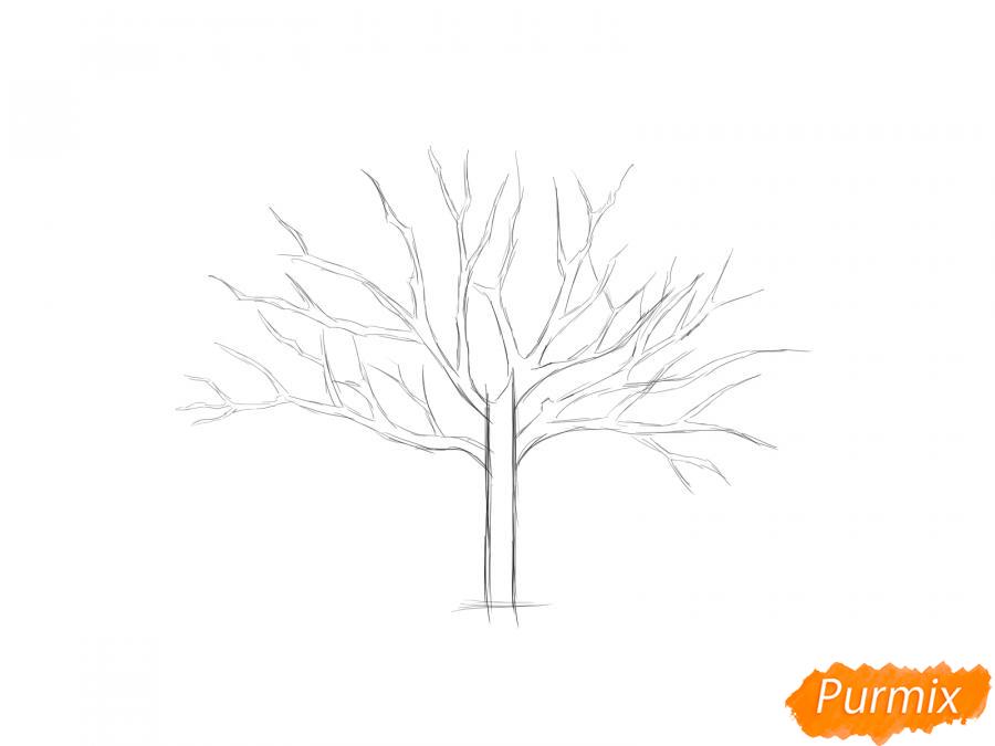 Рисуем ореховое дерево весной - шаг 3