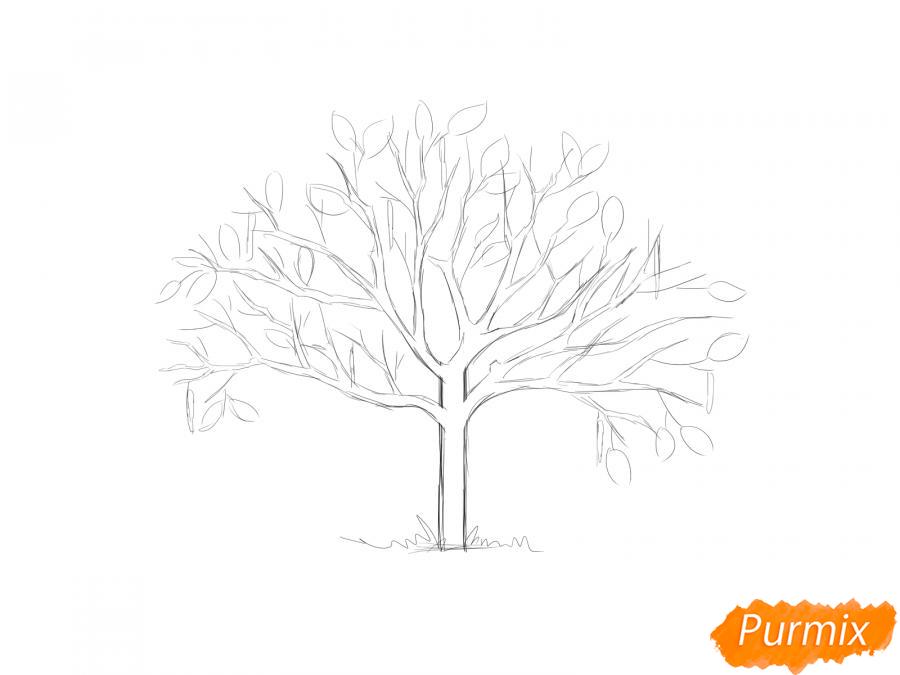Рисуем ореховое дерево весной - шаг 4