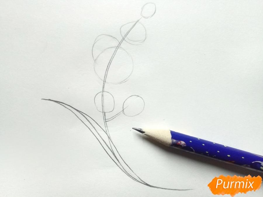 Рисуем веточку орхидеи для детей - шаг 2
