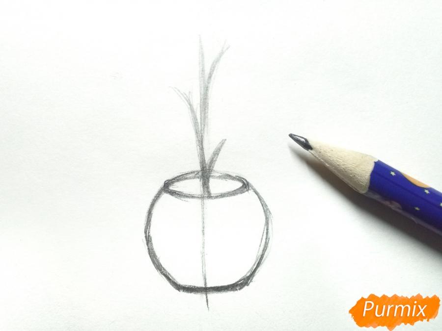 Рисуем орхидею в горшке - шаг 2