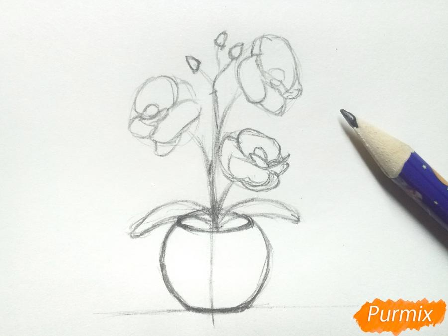 Рисуем орхидею в горшке - шаг 4