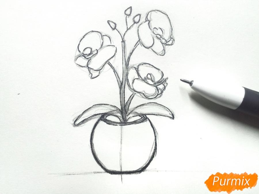 Рисуем орхидею в горшке - шаг 5