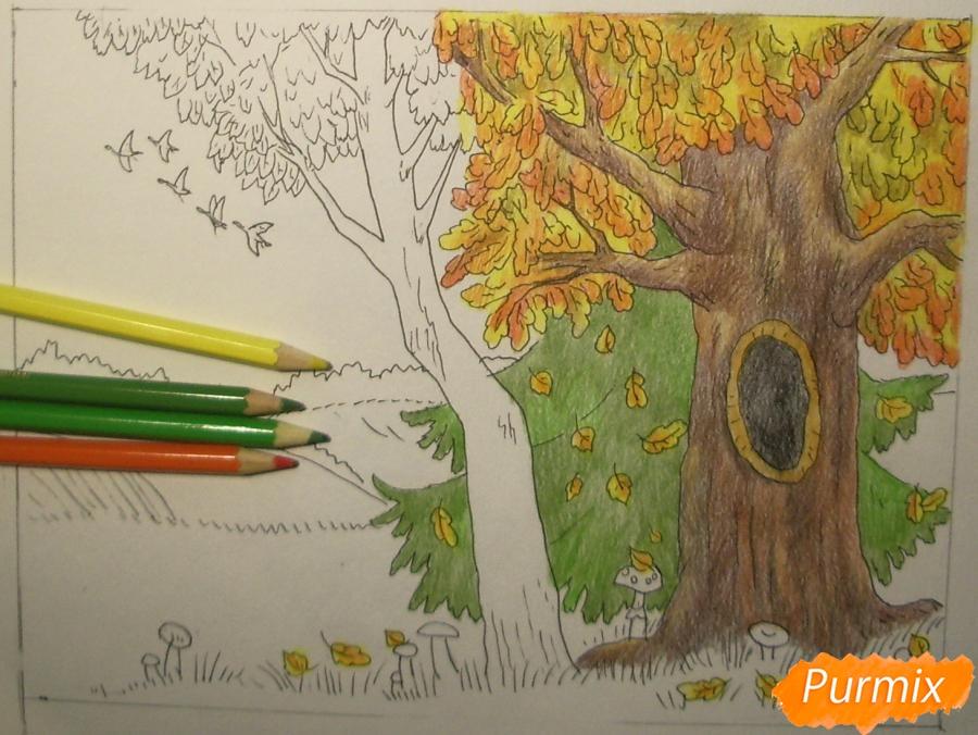 Рисуем осень цветными карандашами - шаг 10