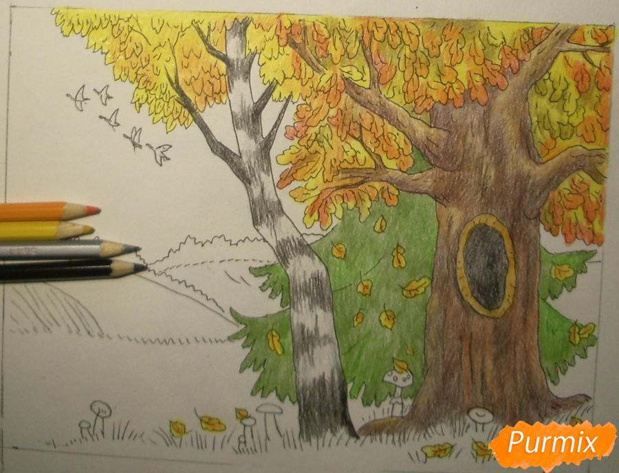 Рисуем осень цветными карандашами - шаг 11