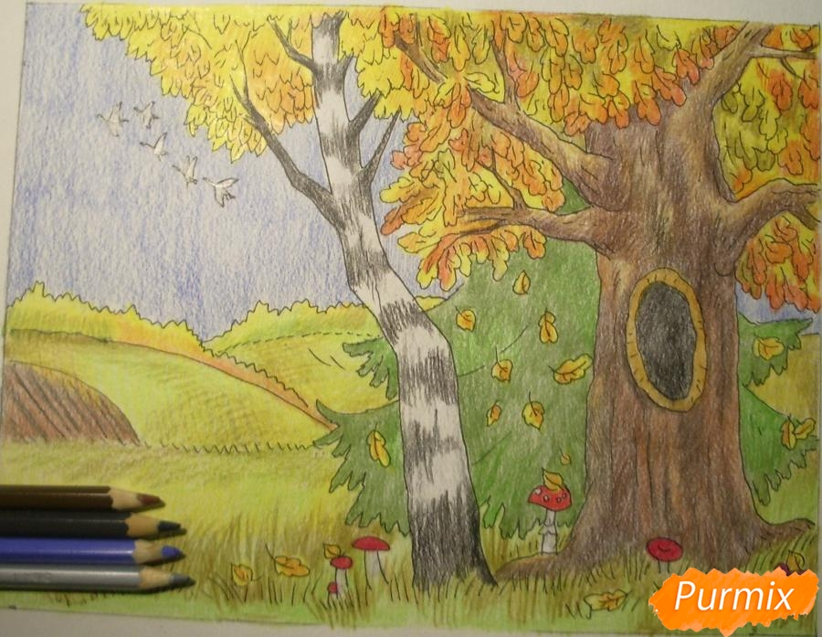 Рисуем осень цветными карандашами - шаг 13