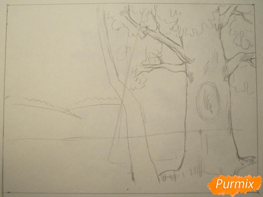 Рисуем осень цветными карандашами - шаг 2