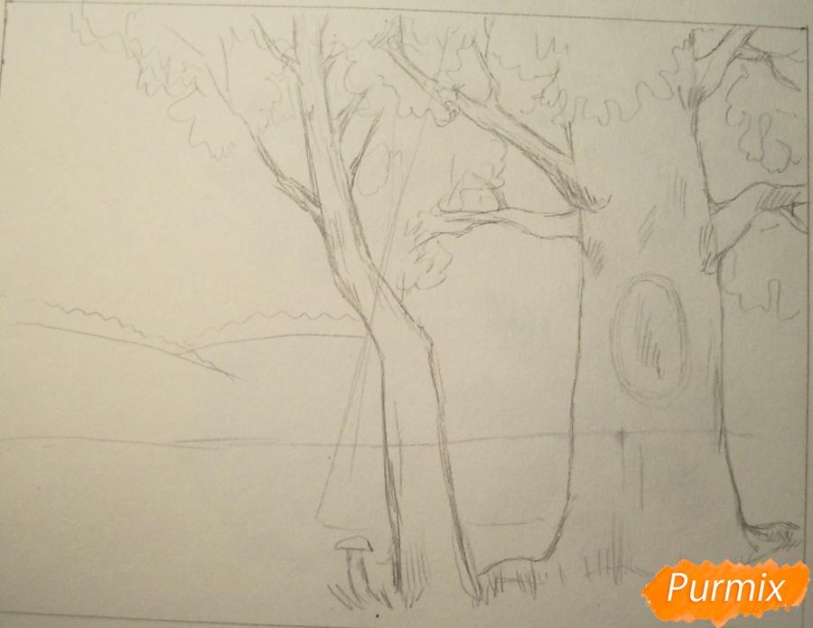 Рисуем осень цветными карандашами - шаг 3