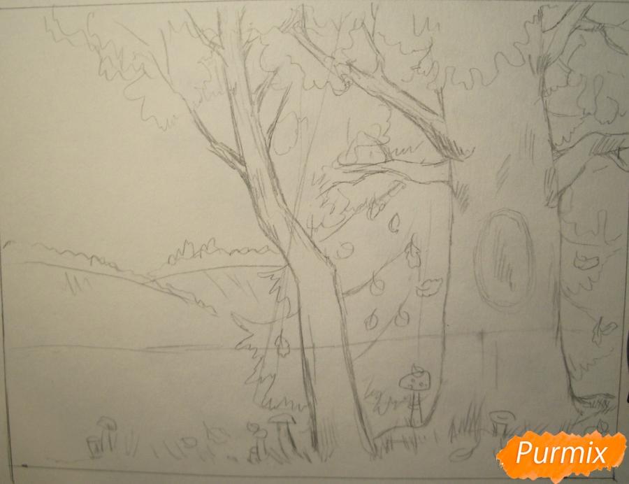 Рисуем осень цветными карандашами - шаг 4