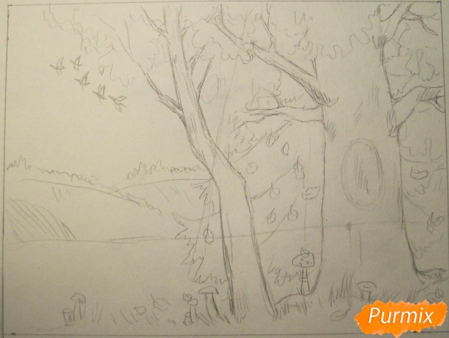 Рисуем осень цветными карандашами - шаг 5