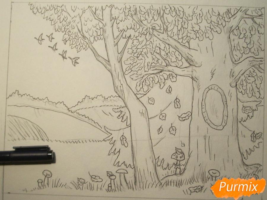 Рисуем осень цветными карандашами - шаг 6