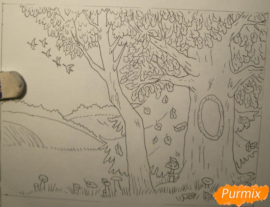 Рисуем осень цветными карандашами - шаг 7
