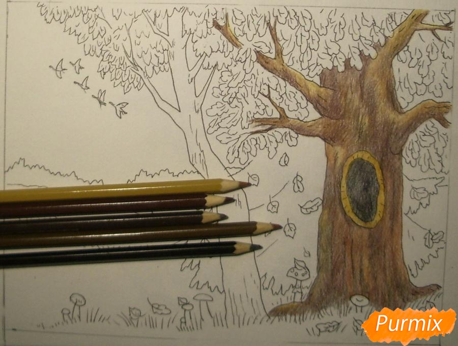 Рисуем осень цветными карандашами - шаг 8