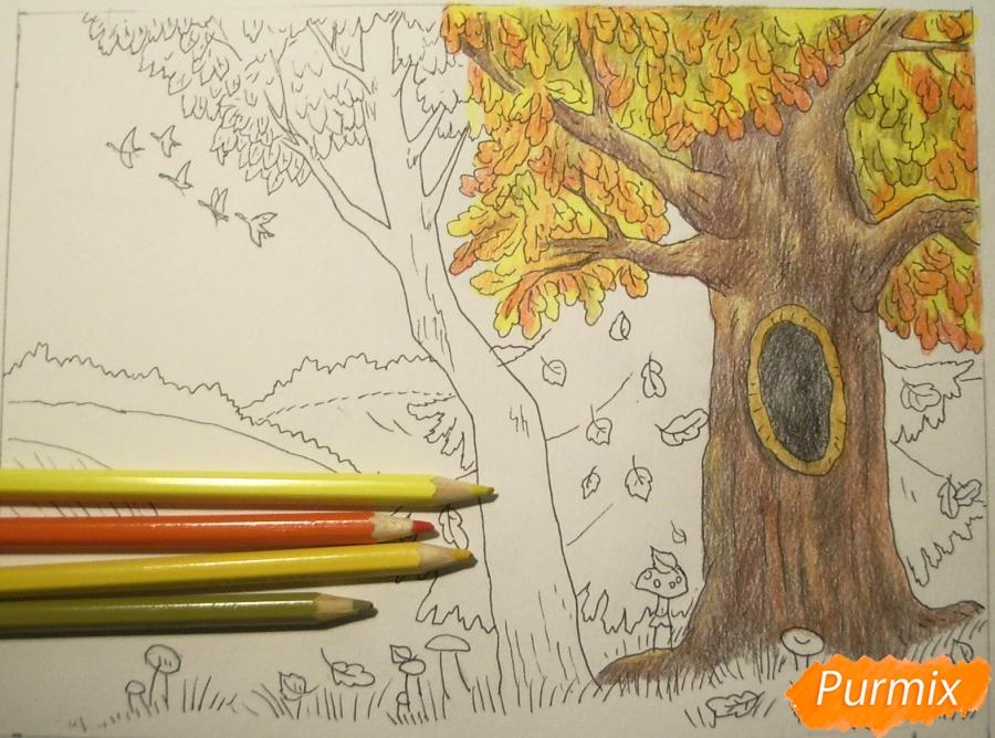 Рисуем осень цветными карандашами - шаг 9