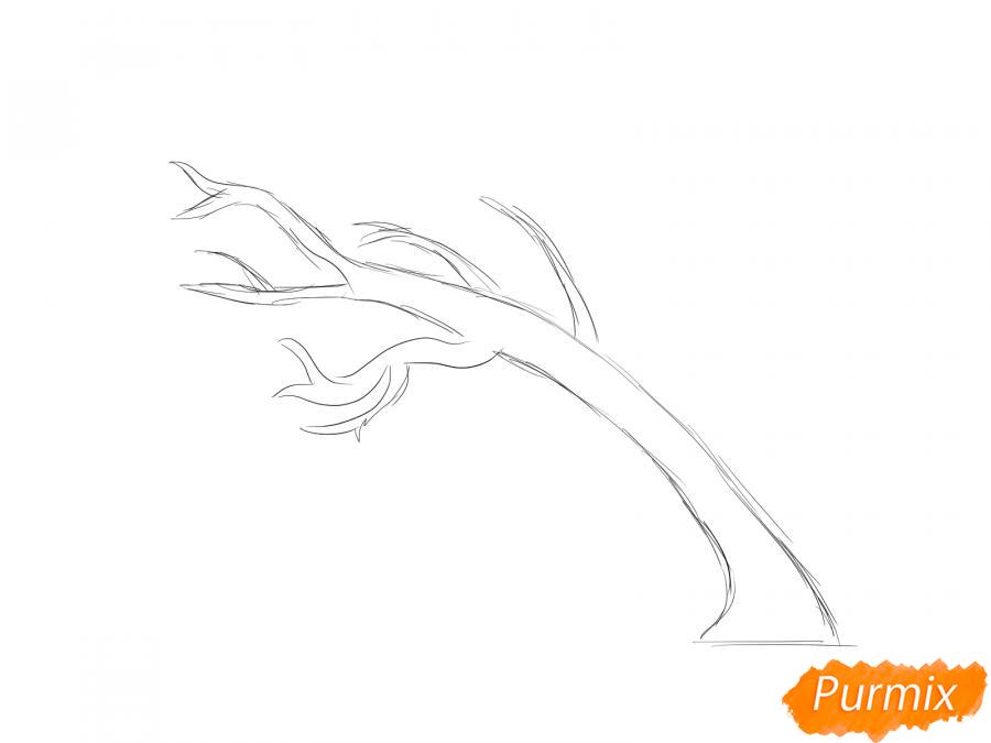 Рисуем осеннее дерево и ветер - шаг 2