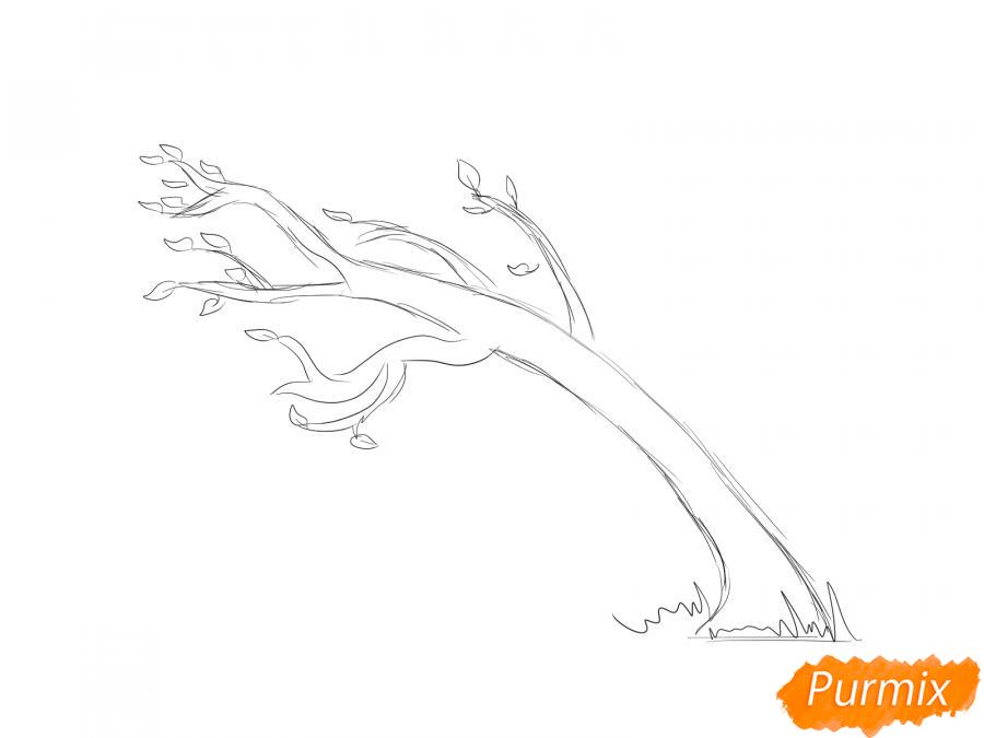 Рисуем осеннее дерево и ветер - шаг 3
