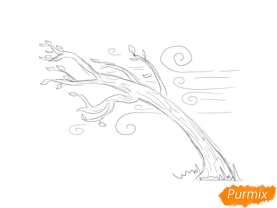 Рисуем осеннее дерево и ветер - шаг 4