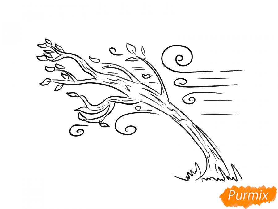 Рисуем осеннее дерево и ветер - шаг 5
