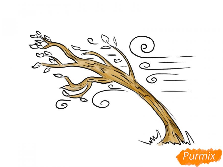 Рисуем осеннее дерево и ветер - шаг 6
