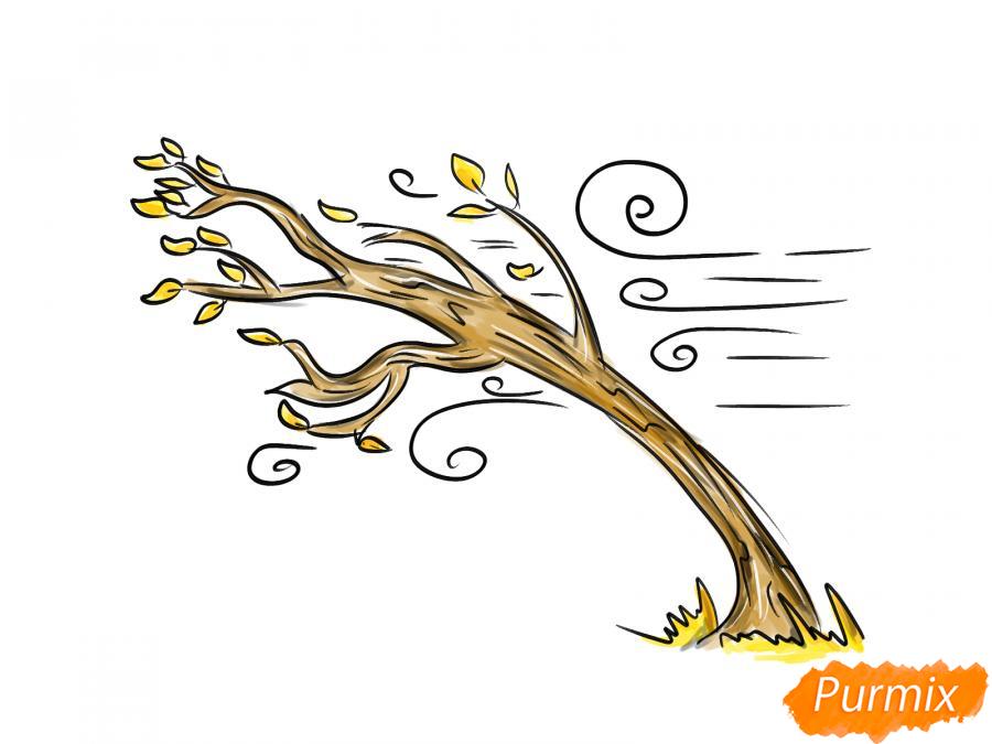 Рисуем осеннее дерево и ветер - шаг 8