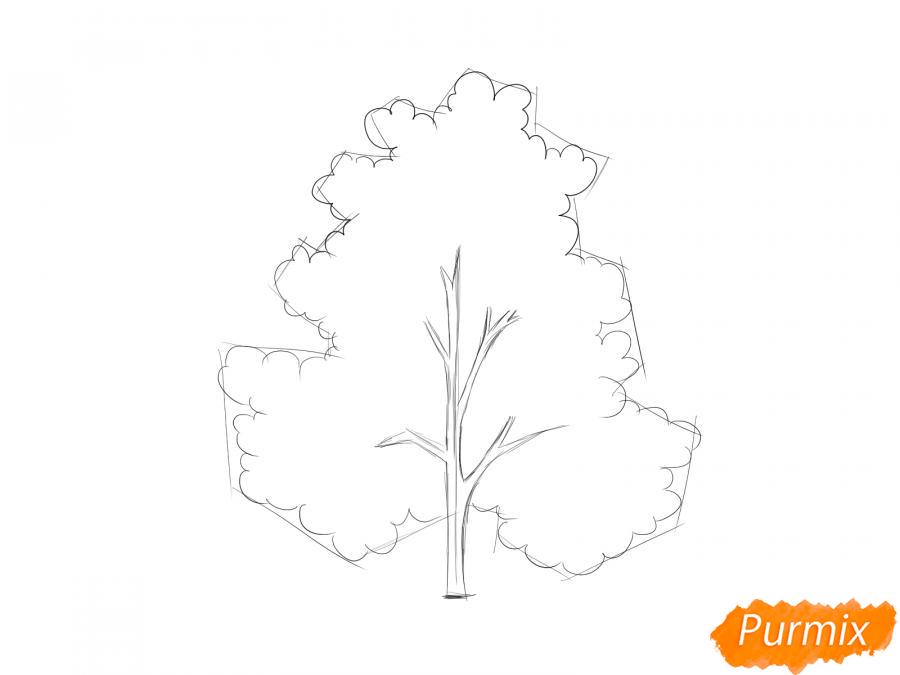 Рисуем осеннее дерево - шаг 4