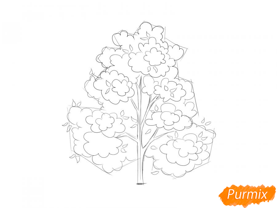 Рисуем осеннее дерево - шаг 5