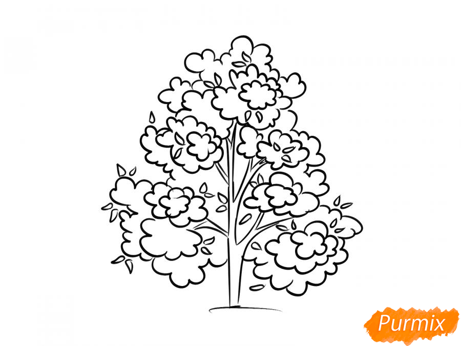 Рисуем осеннее дерево - шаг 6