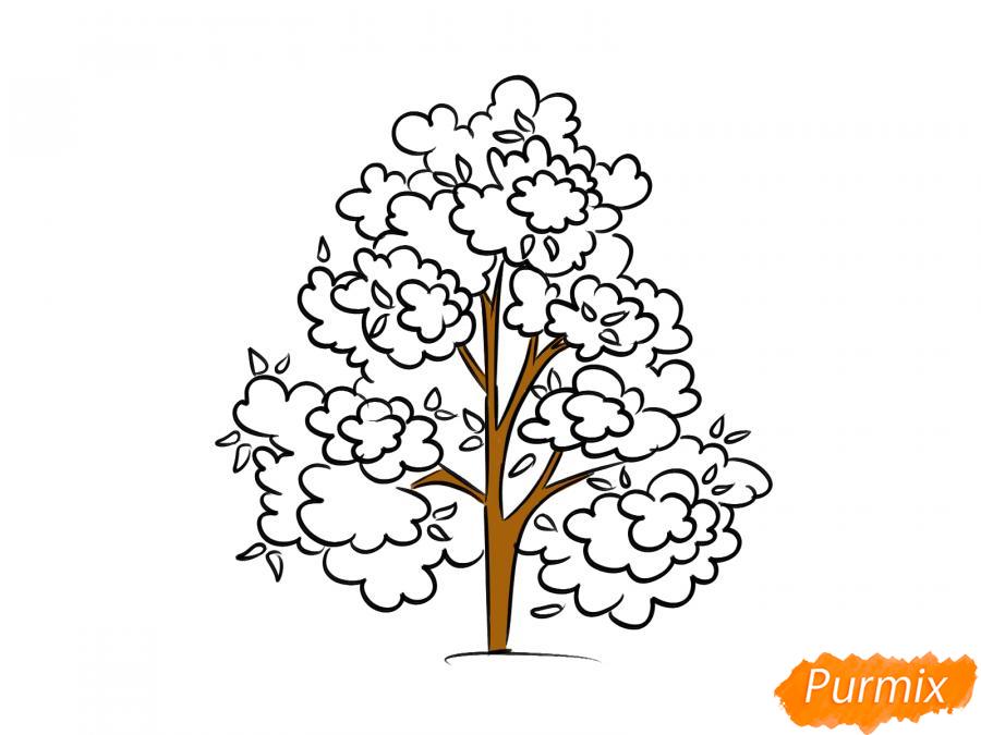 Рисуем осеннее дерево - шаг 7