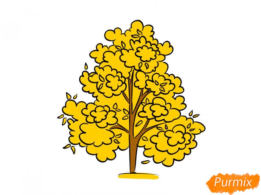 Рисуем осеннее дерево - шаг 8