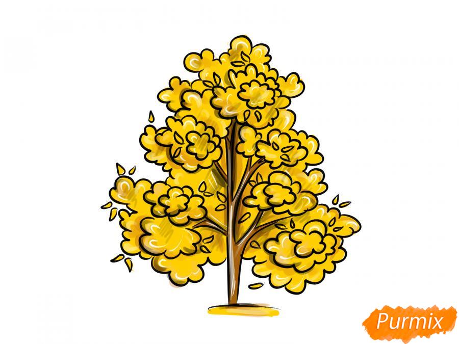 Рисуем осеннее дерево - шаг 9