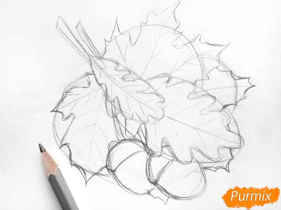 Рисуем осенний букет карандашами - шаг 3