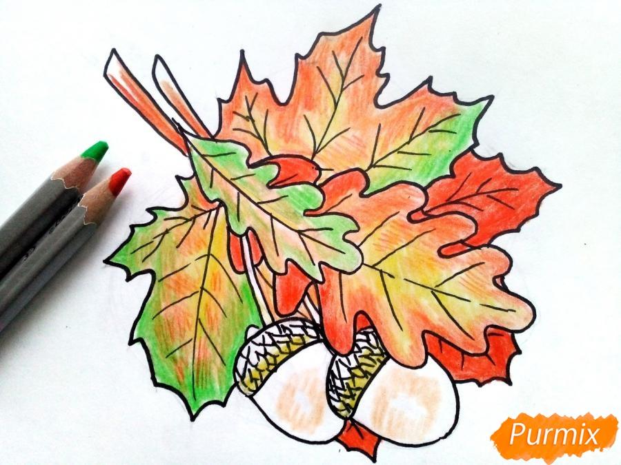 Рисуем осенний букет карандашами - шаг 6