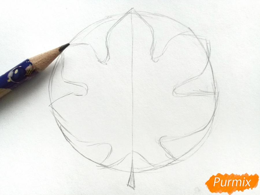 Рисуем осенний кленовый лист - шаг 2