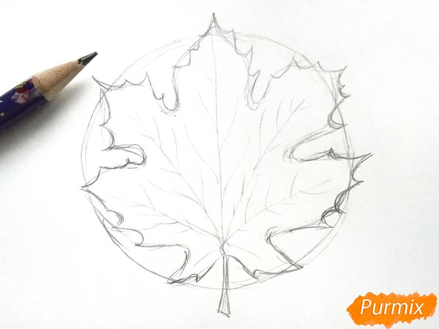 Рисуем осенний кленовый лист - шаг 3