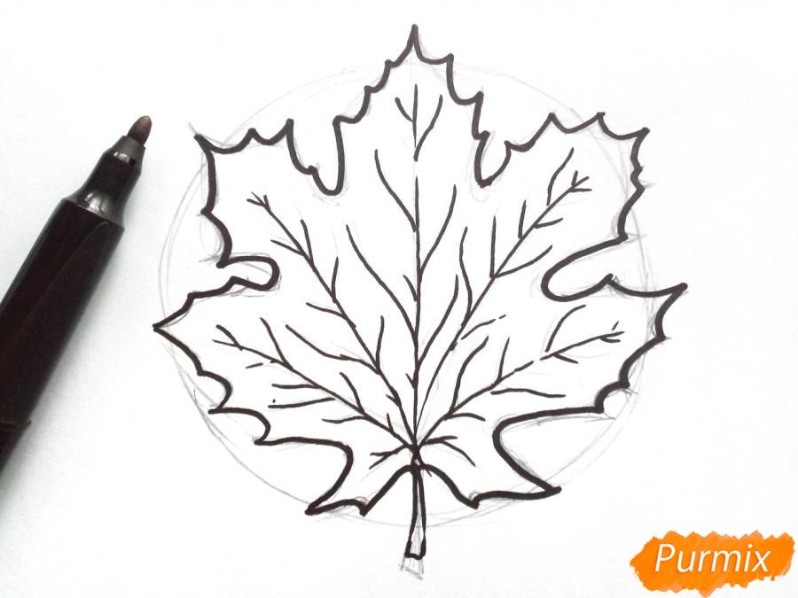 Рисуем осенний кленовый лист - шаг 4