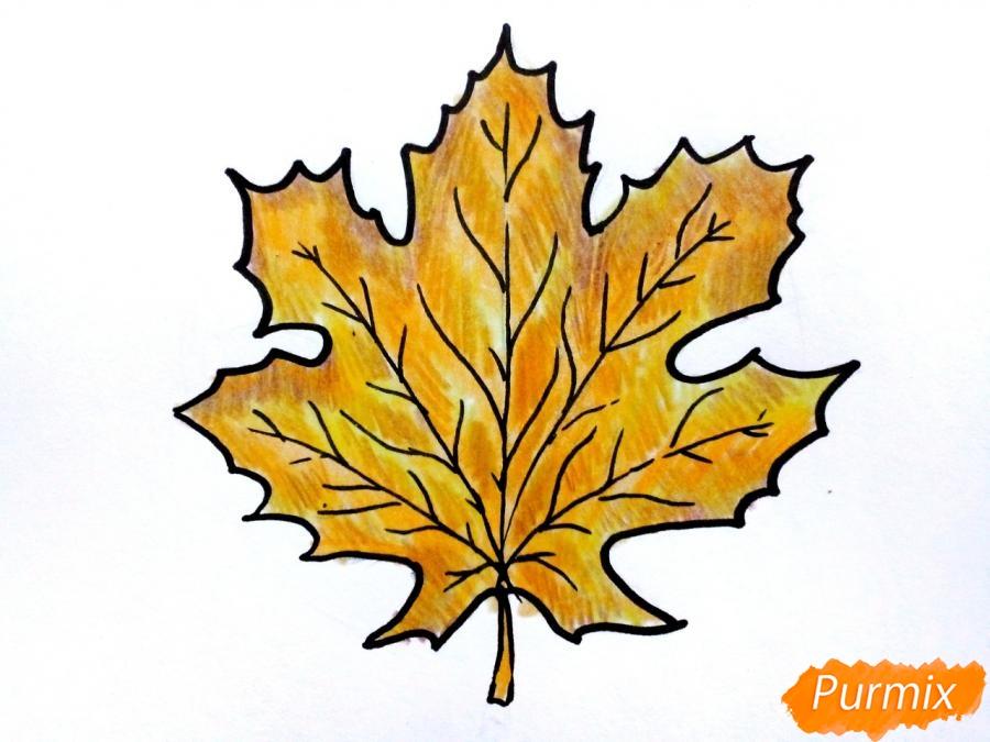 Рисуем осенний кленовый лист - шаг 7