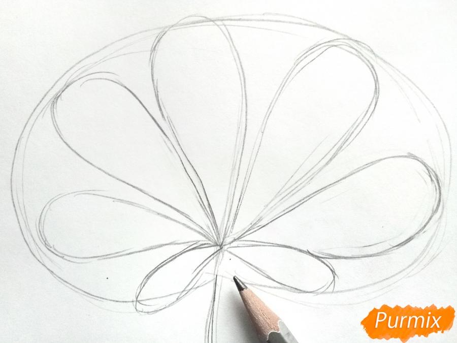 Рисуем осенний лист каштана - шаг 2