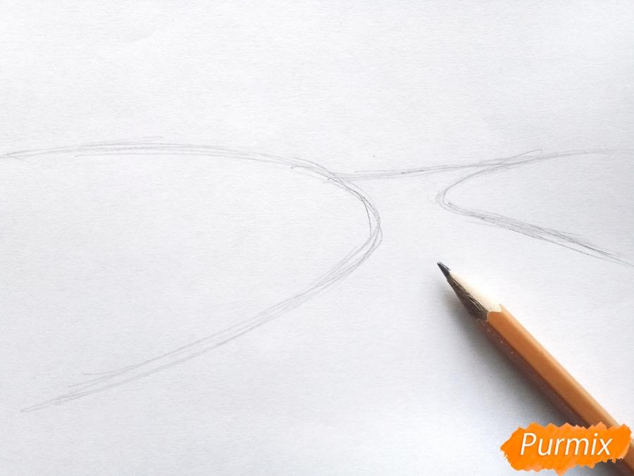 Рисуем осенний парк карандашами - шаг 1