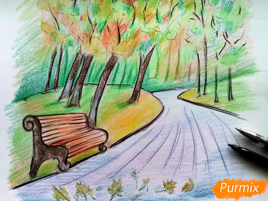 Рисуем осенний парк карандашами - шаг 11