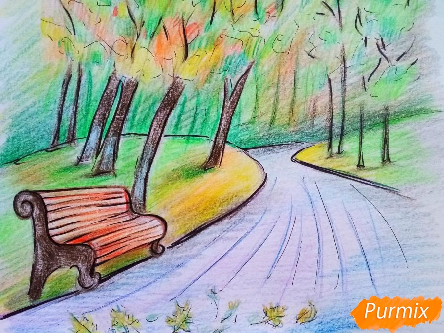 Рисуем осенний парк карандашами - шаг 12
