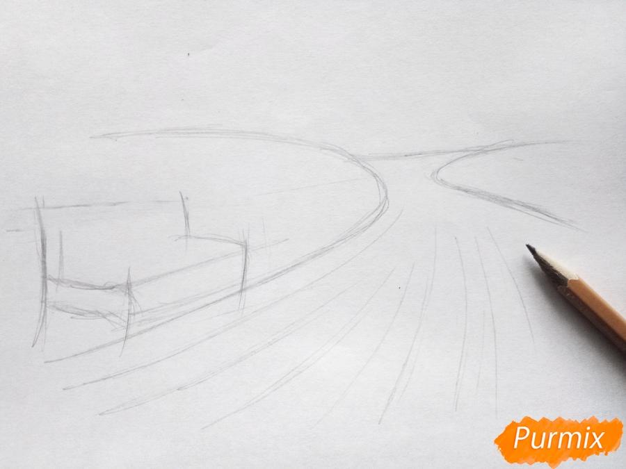 Рисуем осенний парк карандашами - шаг 2