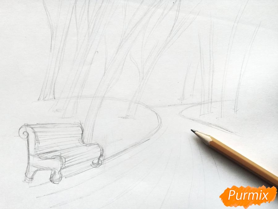 Рисуем осенний парк карандашами - шаг 3