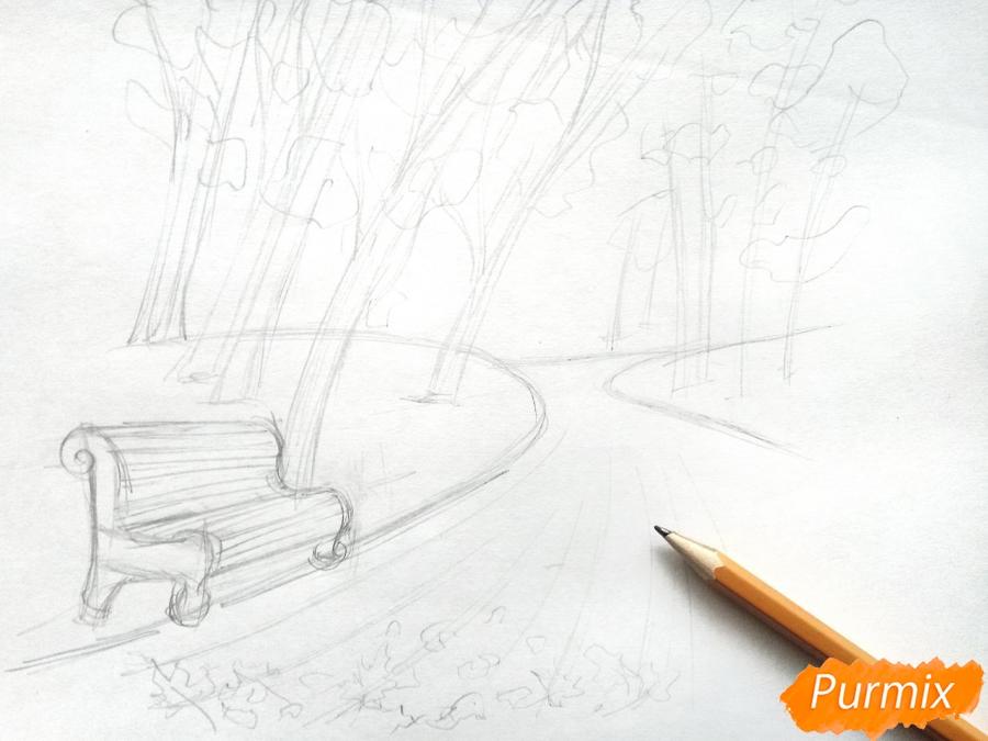 Рисуем осенний парк карандашами - шаг 4