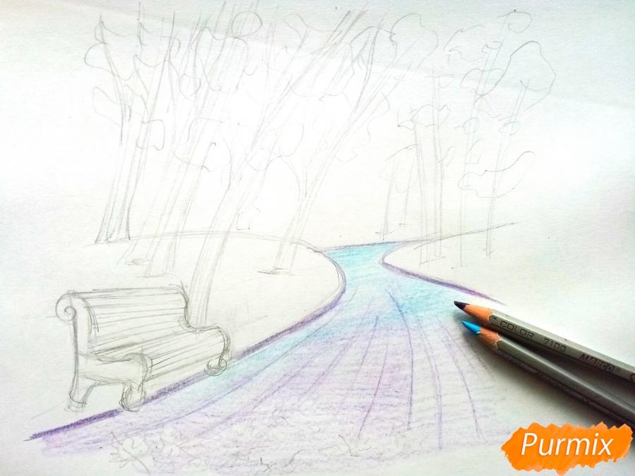 Рисуем осенний парк карандашами - шаг 5