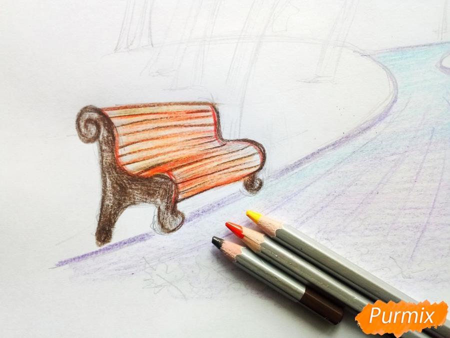 Рисуем осенний парк карандашами - шаг 6