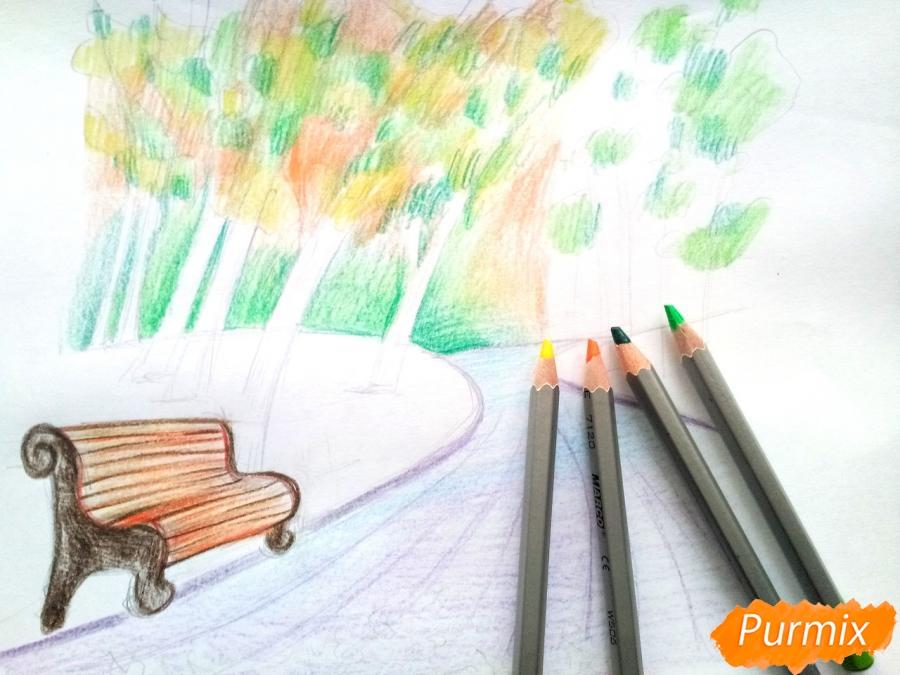 Рисуем осенний парк карандашами - шаг 7
