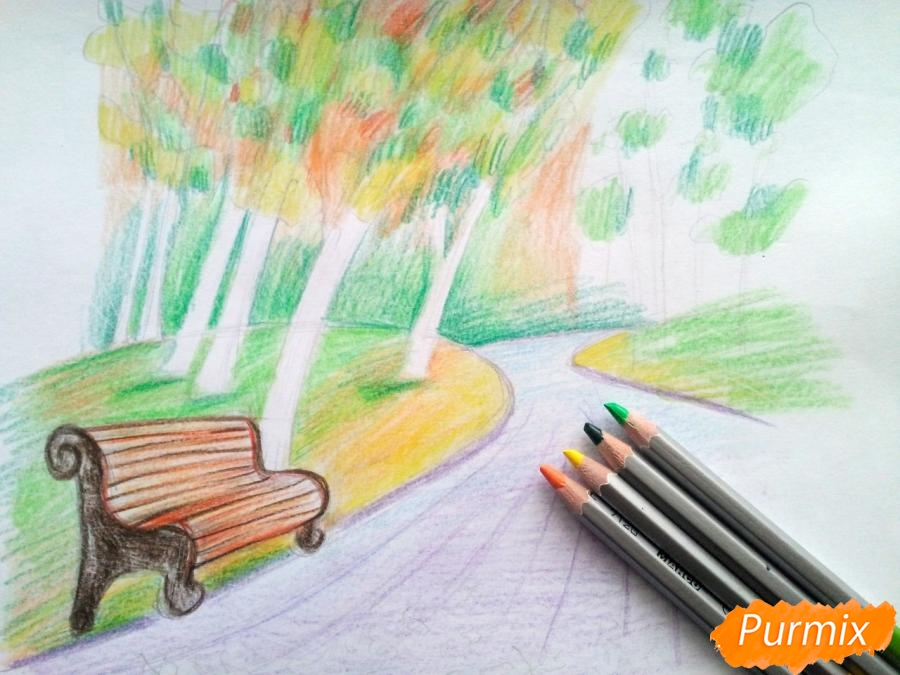 Рисуем осенний парк карандашами - шаг 8