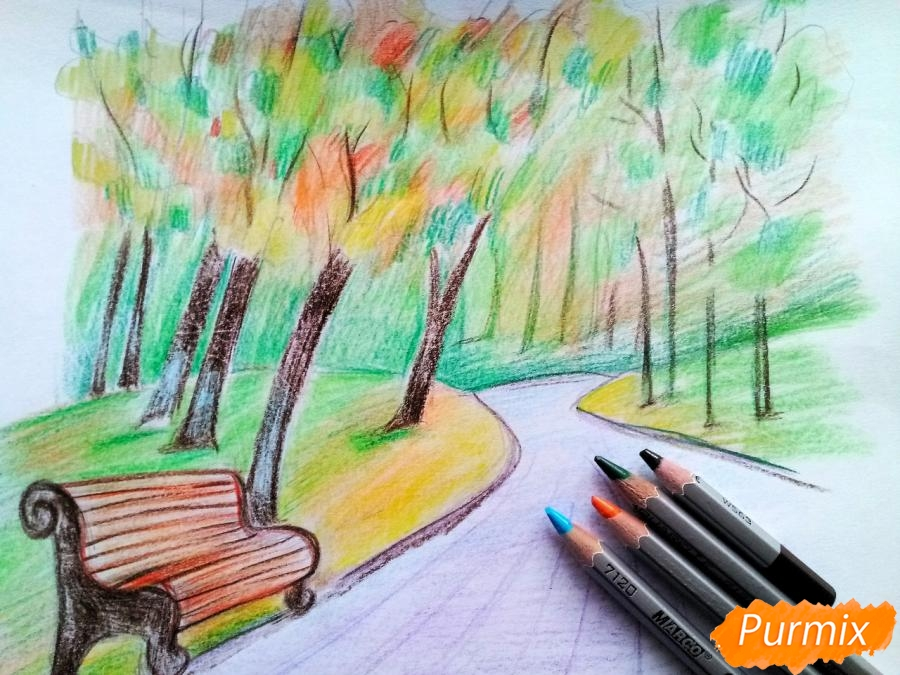 Рисуем осенний парк карандашами - шаг 9